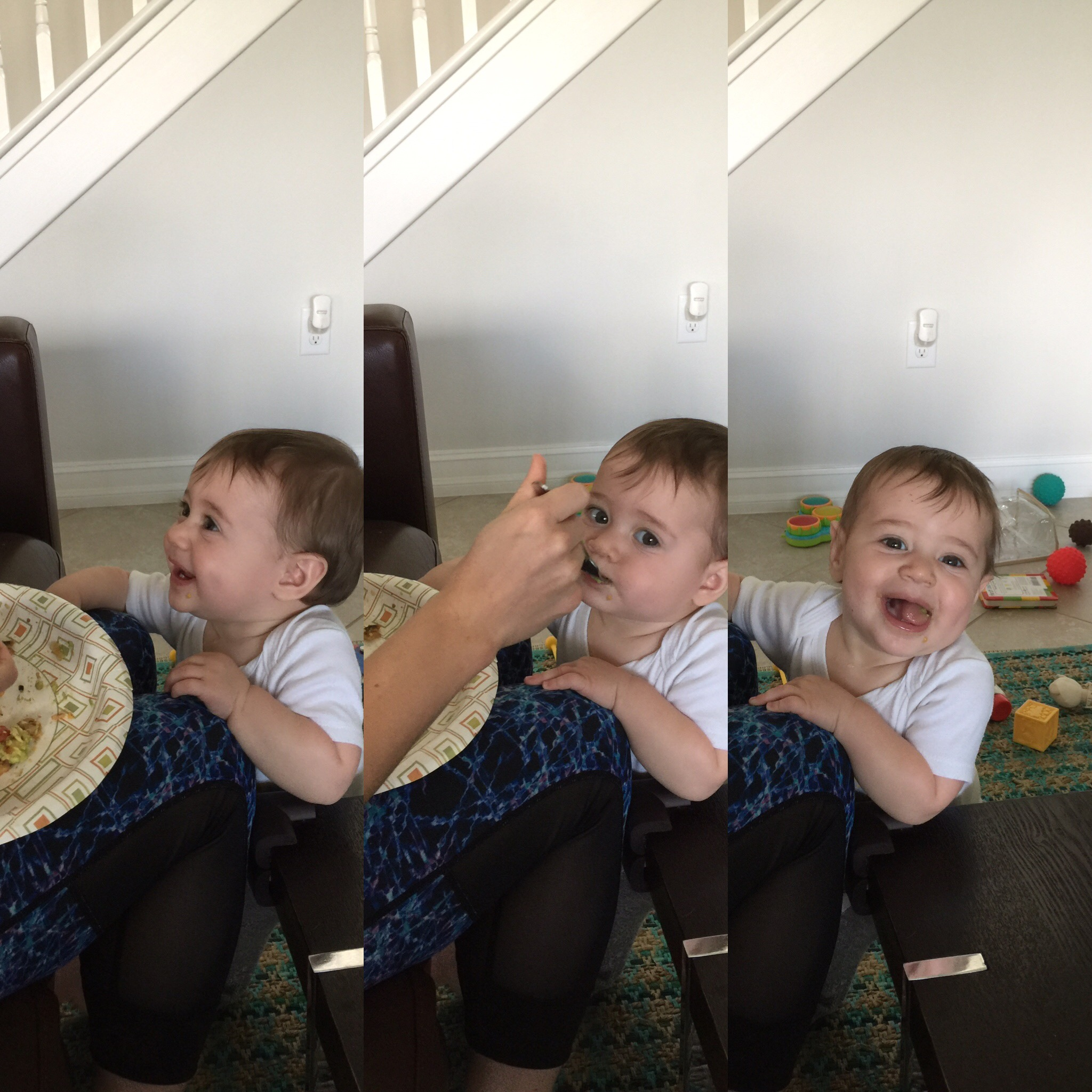 One of my favorite moments from the past month. She was hungry so she decided to share my lunch.