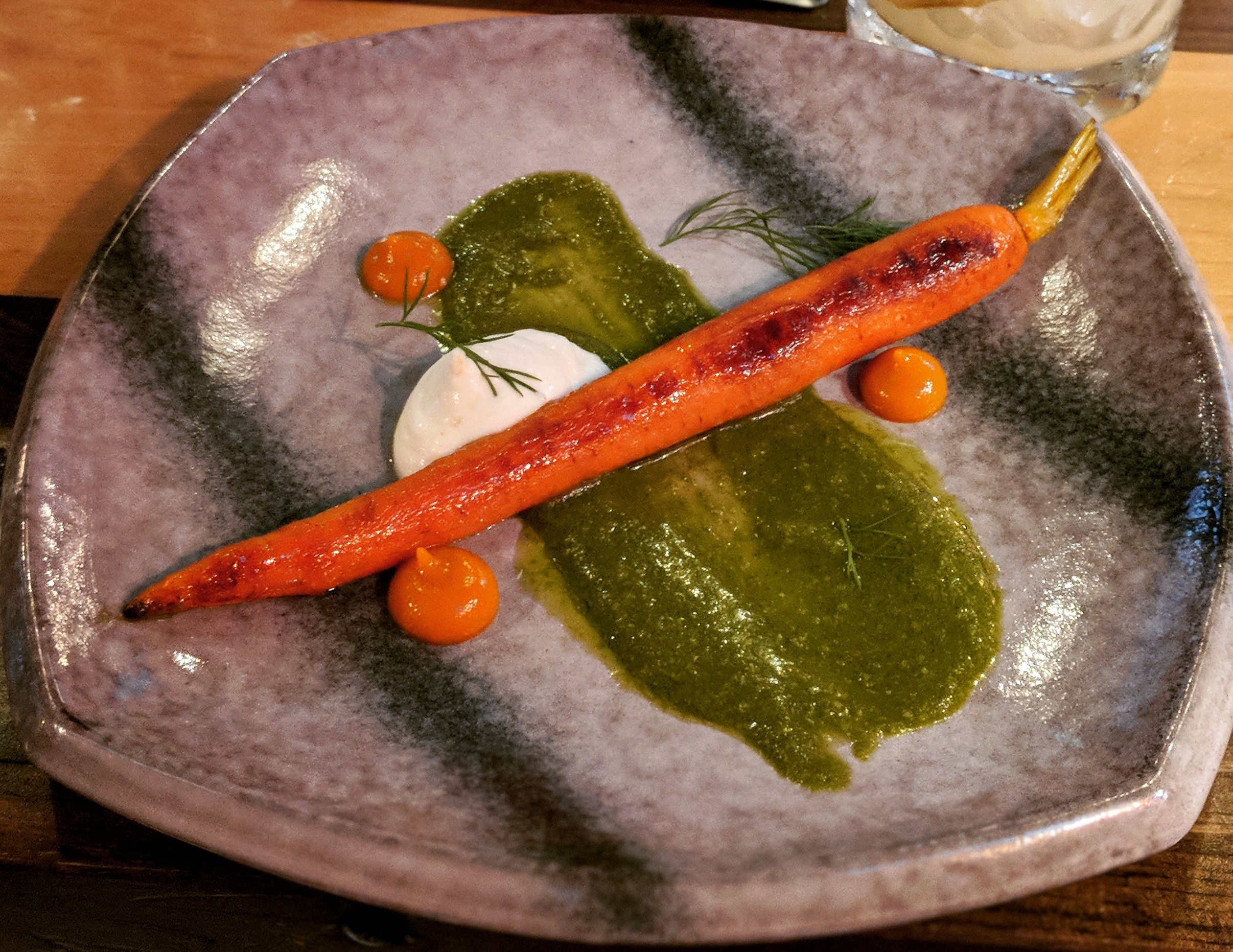 Fourth Course: Carrot three ways; roasted carrot over pesto (made from the leaves), carrot puree.