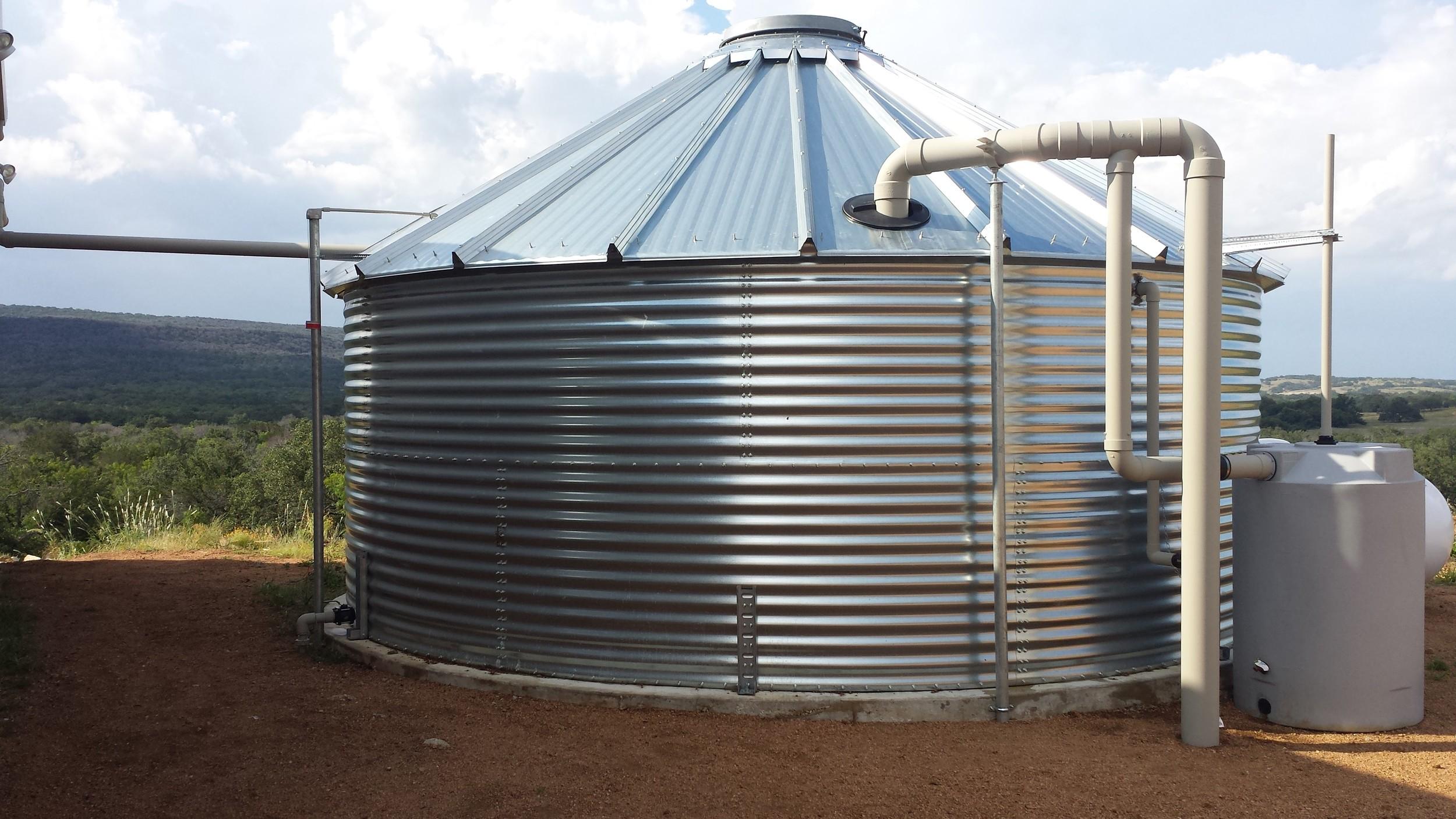 Residential rainwater collection system near Fredericksburg, Texas