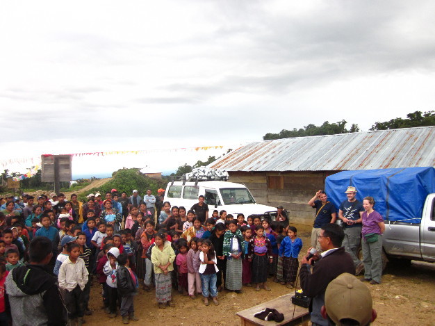 The village children met the group and sang songs.