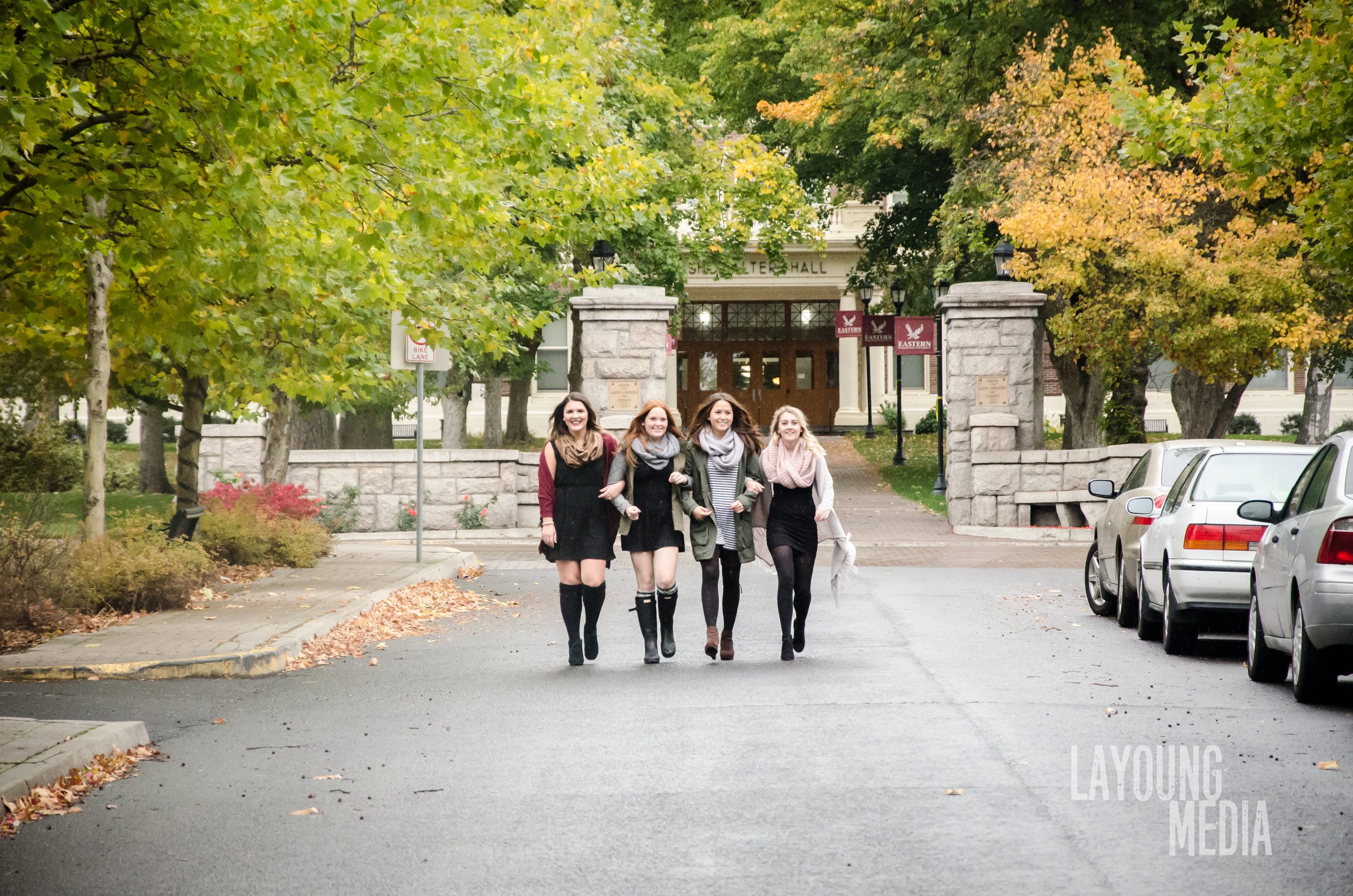 A small group of girls from Alpha Xi Delta walking toward the camera during our 3rd to last shot of the day. The rain was just starting to come down.