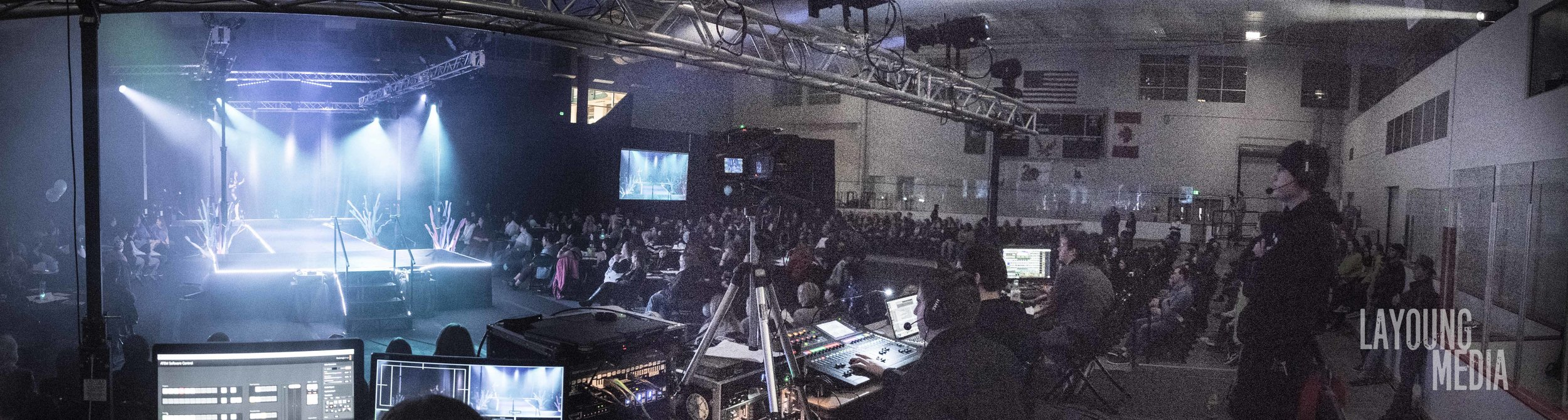 This was my view as the video production manager. I had the lights, camera, and action for my position.