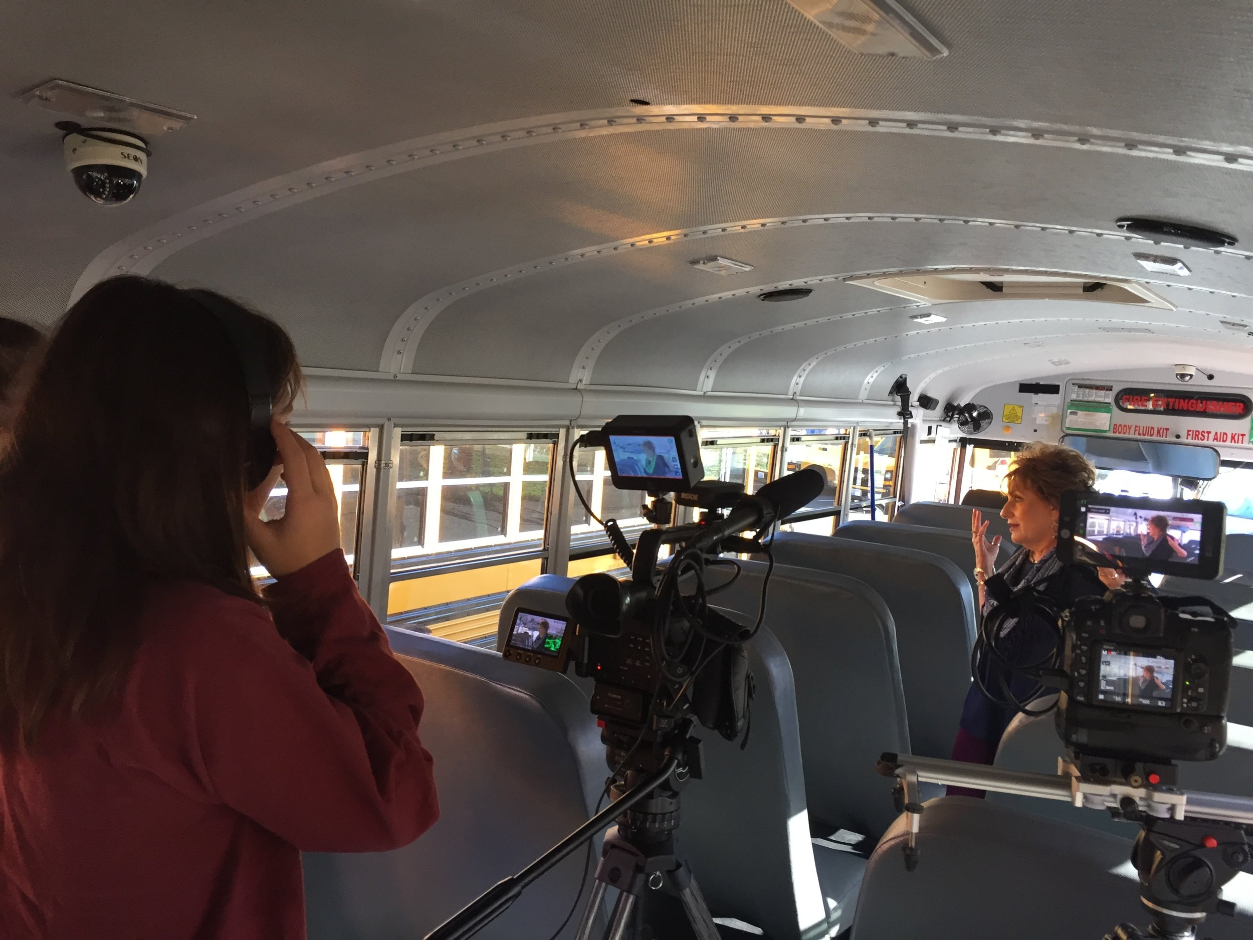 Filming inside a bus!
