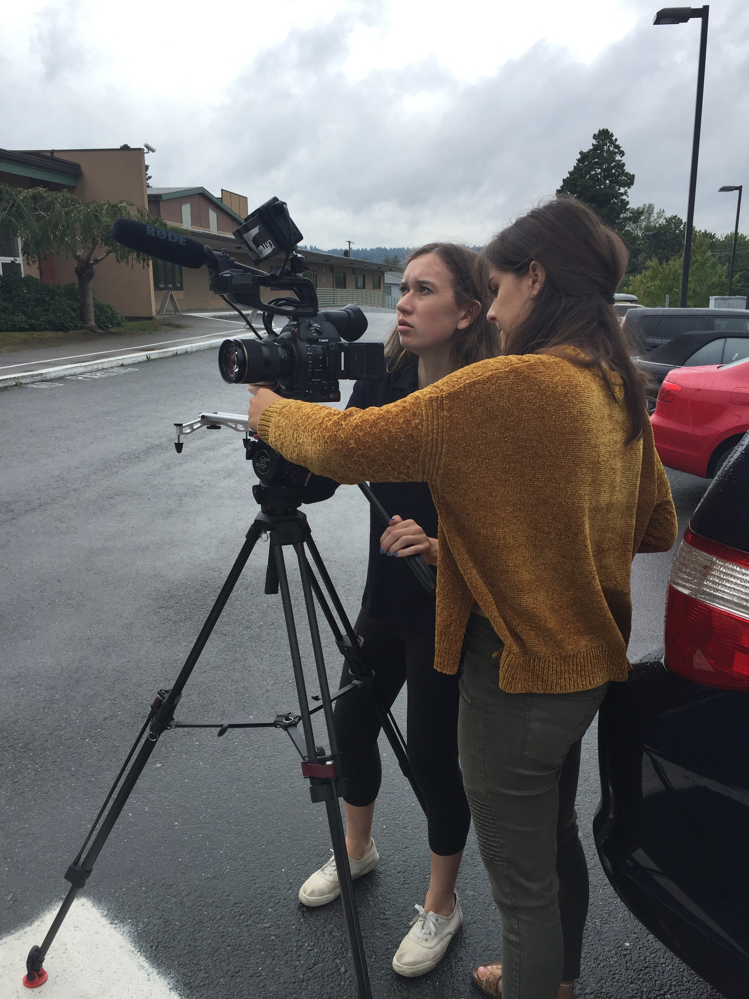 Taylor (left) Andie (right) prepping the camera for a shot of a school logo at the end of the first day.