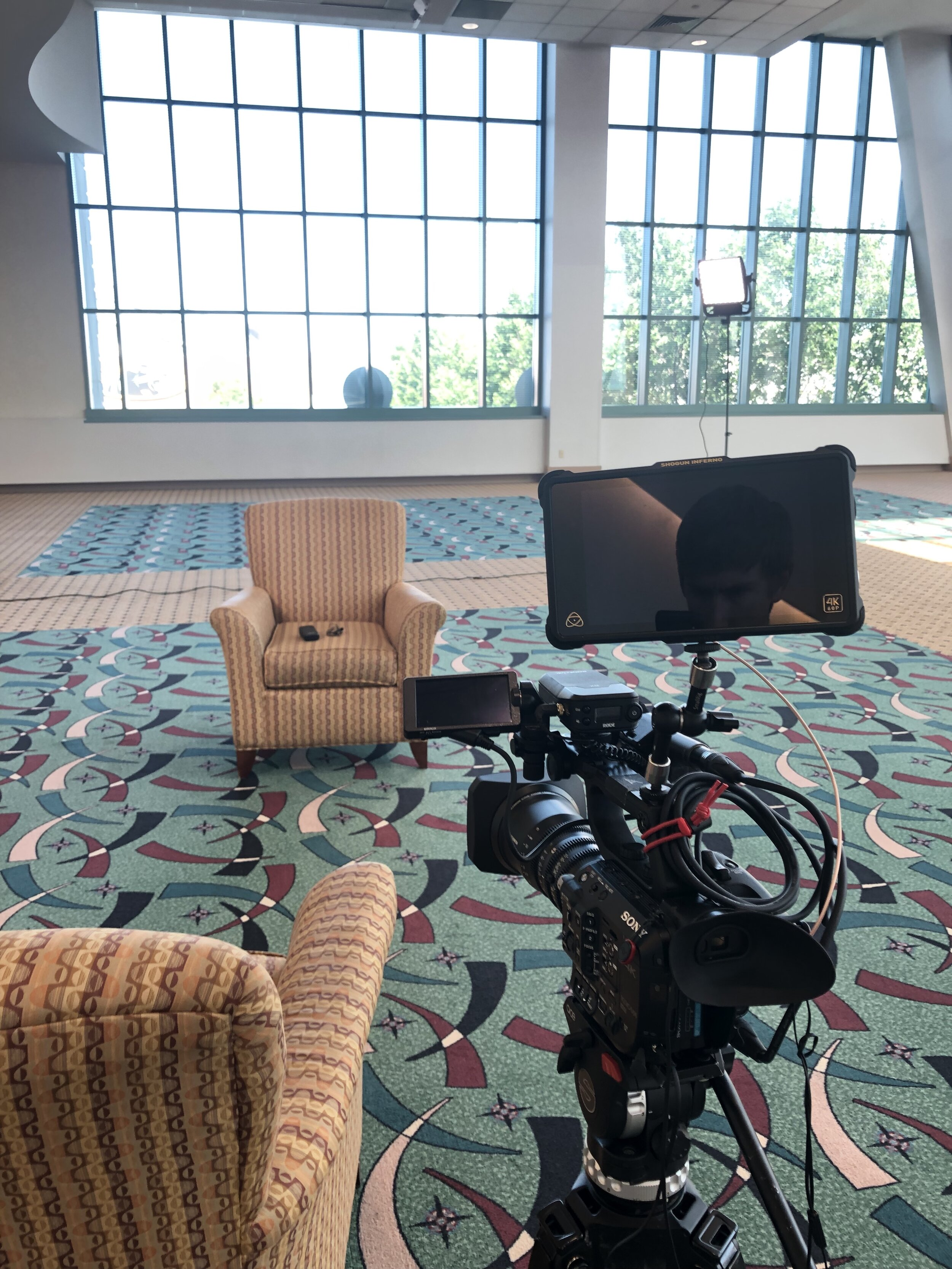 My FS5 ahead of an interview within a conference center.