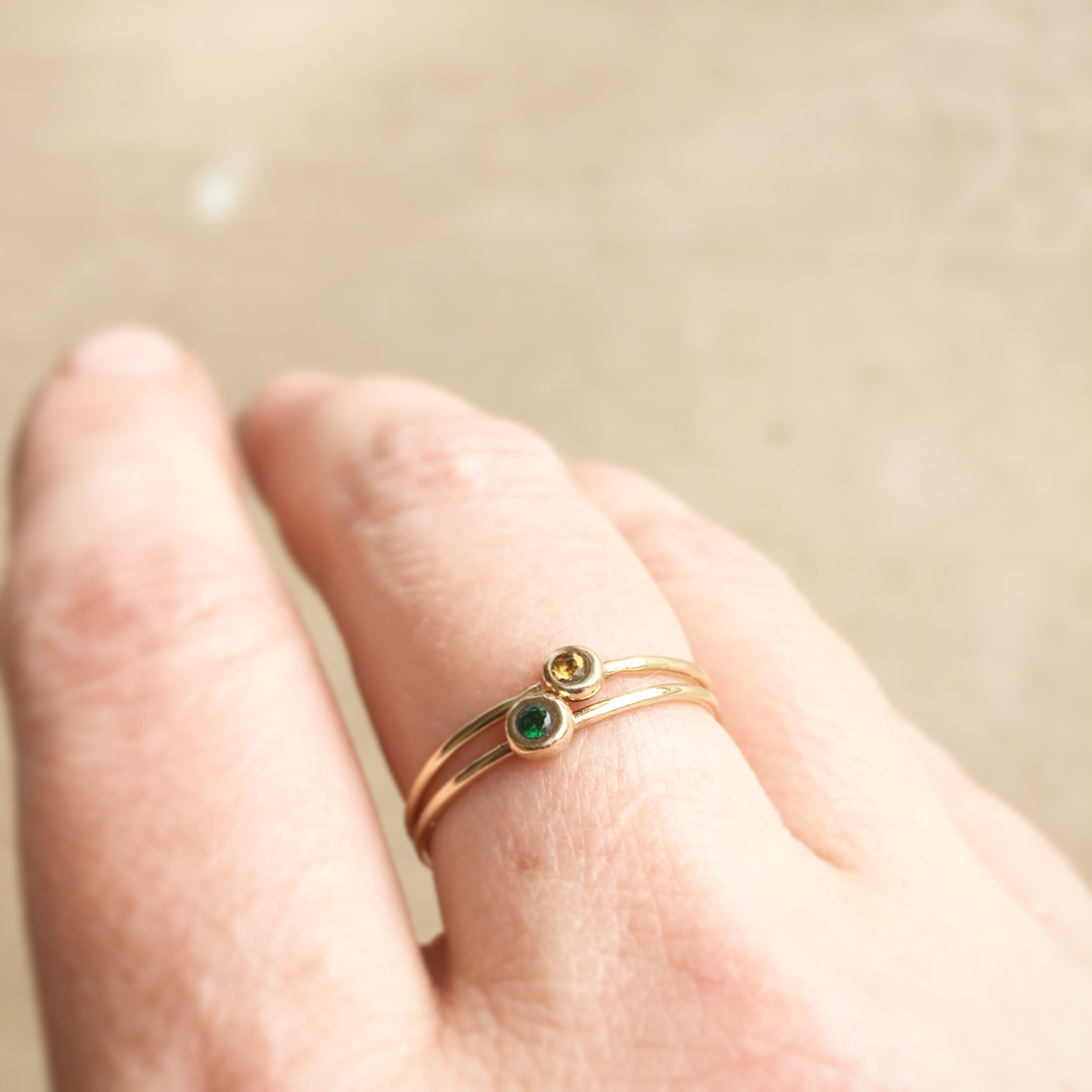 LUXE stackable birthstone ring