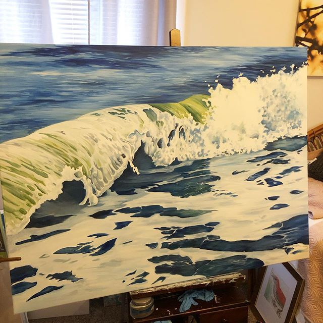 Whew! I finished the wave which has been the most challenging part. Now to the seafoam - my favorite! It's almost done. PM me if you need this beauty (Or one like it) in your life!  #originalart #lifeofanartist #wip #ocean