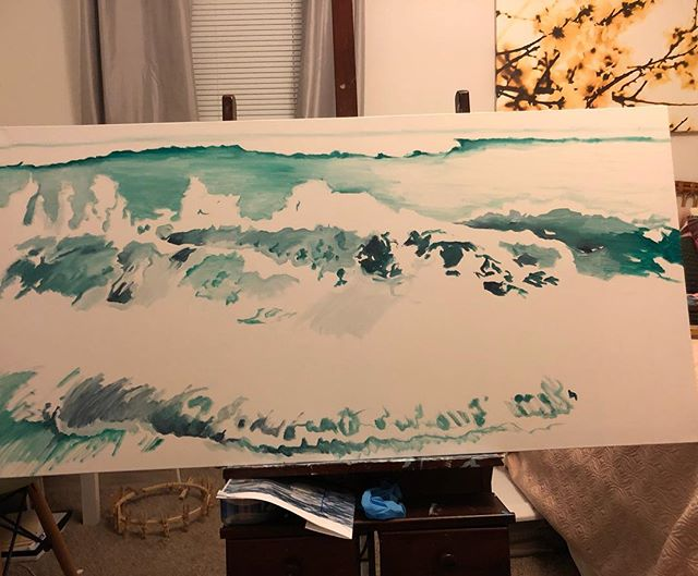 It's starting to come together #wip #lifeofanartist #myrtlebeach #ocean #waves #inspired #oilpainting #originalart