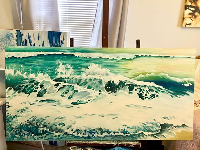 Progress shots of a commission. Contact me if you'd like to be my next commission 😘. #lifeofanartist #ocean #waves #originalart #myrtlebeach #oilpainting