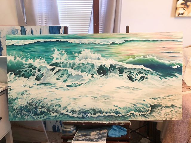 Getting closer!!! #wip #lifeofanartist #waves #originalart #myrtlebeach #ocean #doitfortheprocess #carveouttimeforart