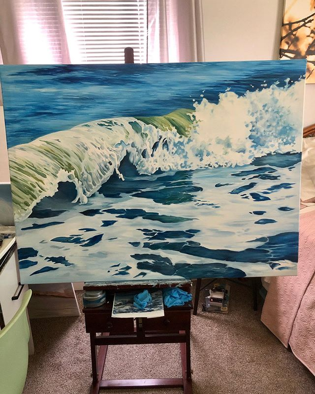 A few touch ups on this big daddy! Message me for price inquiry! Let's make a deal 🤝 #carveouttimeforart #lifeofanartist #ocean #doitfortheprocess #waves #myrtlebeach #oilpainting