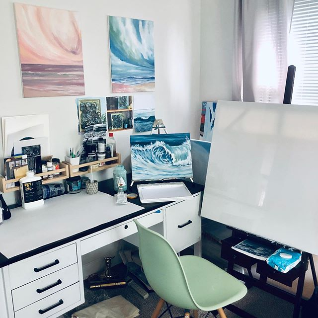 My summer has been full and busy, but this week I cleaned up my studio to get back to work. I will be ready to paint as soon as my little one goes to his preschool in September!  Are you ready to fall back into fall routines?
