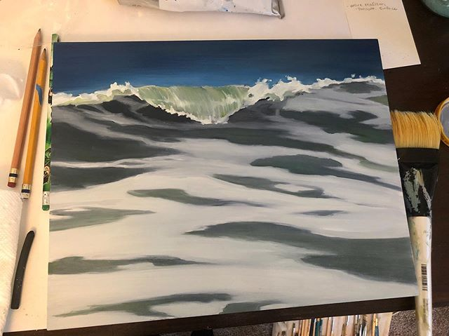 """Dorian Gray"" 11x14"" Oil on Gessoed wooden board.  This new painting surface was so, so smooth. I loved it!  #oilpainting #lifeofanartist #originalart #waves #hurricanedorian #myrtlebeachartist"