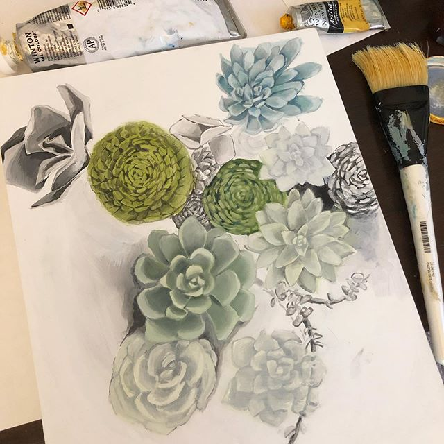Time for some color. #wip #oilpainting #lifeofanartist #artstudio #succulents