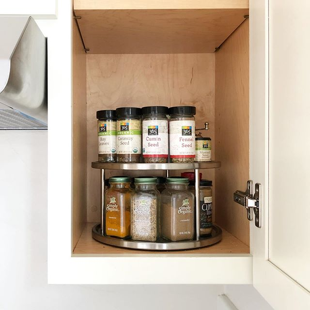 Monday's 10-minute organizing project: clean up your spice drawer collection. Try adding a tiered turntable to maximize space!
