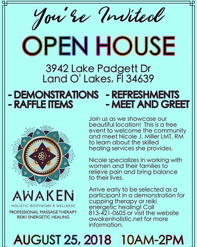 Tomorrow! Please come by to see my office and learn about my services. Send me a message if you have any questions! #massagetherapy #massage #landolakes #wellness #openhouse #wesleychapel #landolakes #smallbusiness #healthiswealth #comevisit #reiki #thebest #natural #naturalhealing