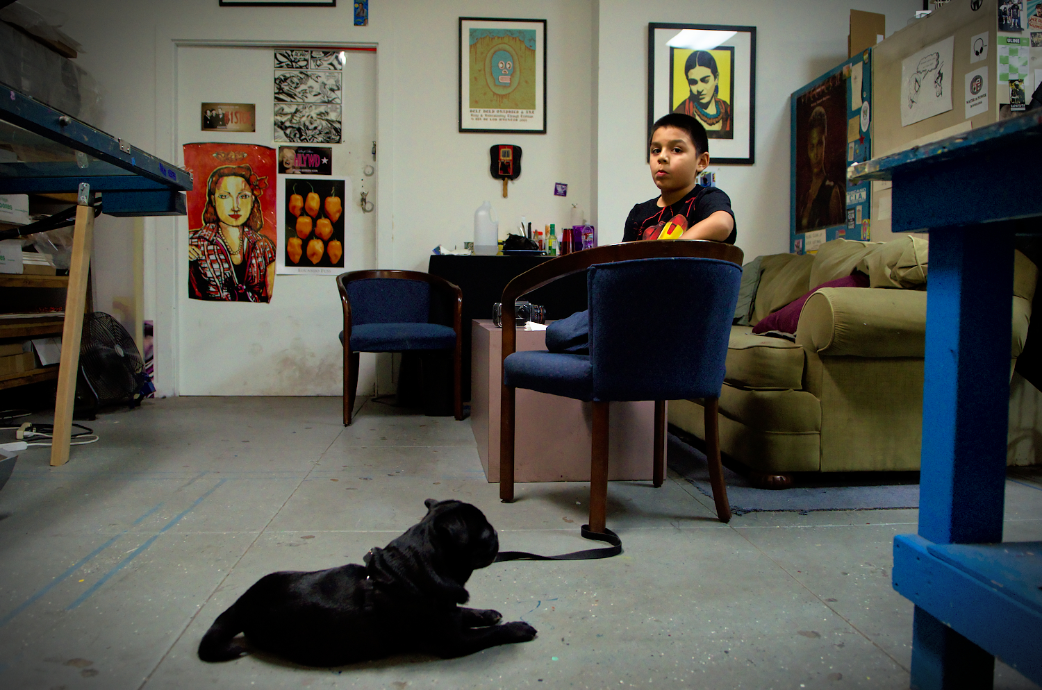 This young boy is the grandson of Jose Alpuche, the Self Help Graphics printmaster. He regularly visits his grand father, and is already creating his own screen prints. His own father works as a printer at Modern Multiples, another collaborative studio a few blocks away.