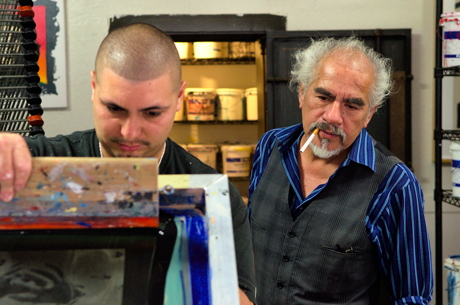 Richard Duardo (right), printmaster and founder of the renowned Modern Multiples Editions. His studio is a major established actor, working with local and international contemporary artists such as the street artists Shepard Fairey.