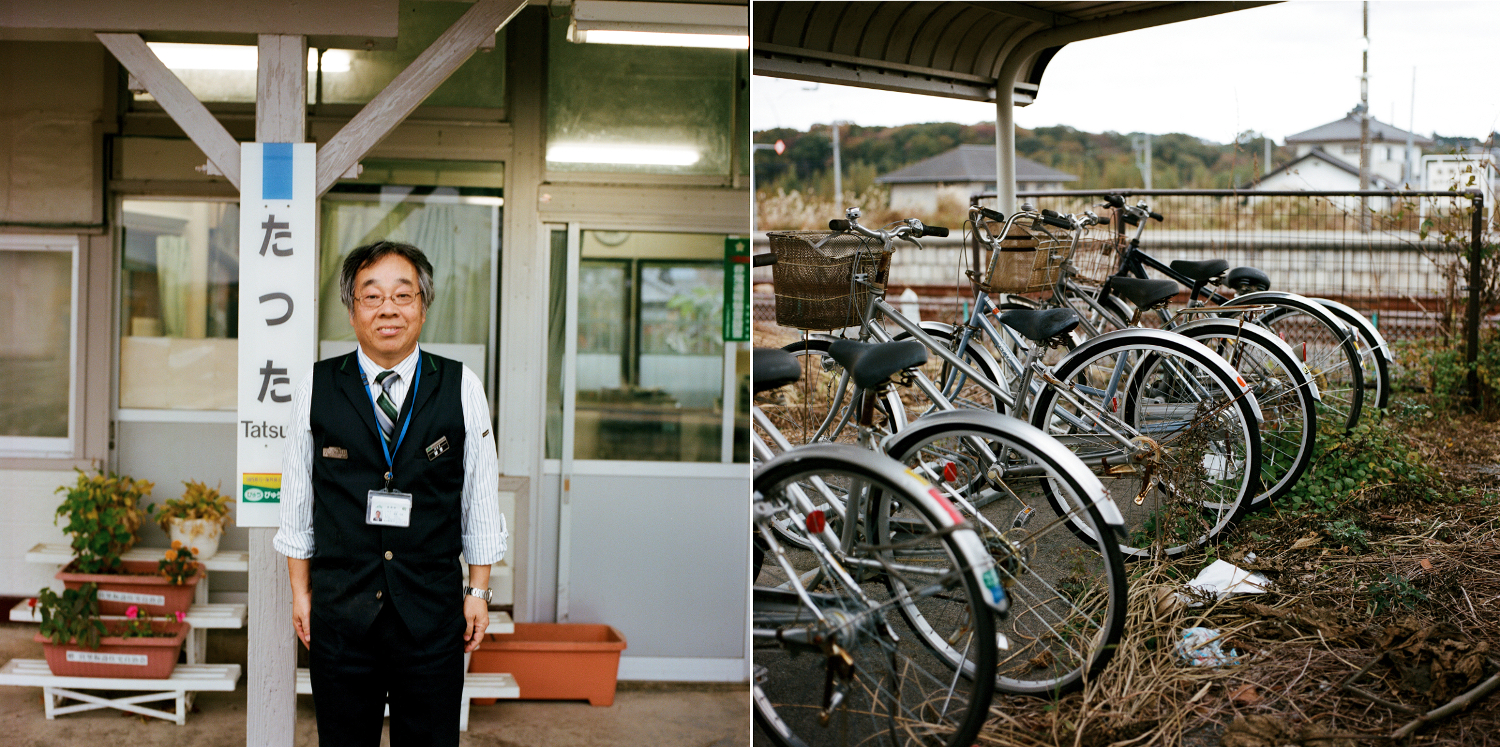 Kamakura Mori works at the Naraha Tatsuta Station. He comes from Iwaki but is very committed to the revival of Naraha. He proudly shows me the many flowers that he has planted in and around the station. Right, about twenty bicycles abandoned in the parking lot of the Tatsuta station are gradually surrounded by brambles. Like everywhere in Japan, these bikes have no padlocks as theft is rare.