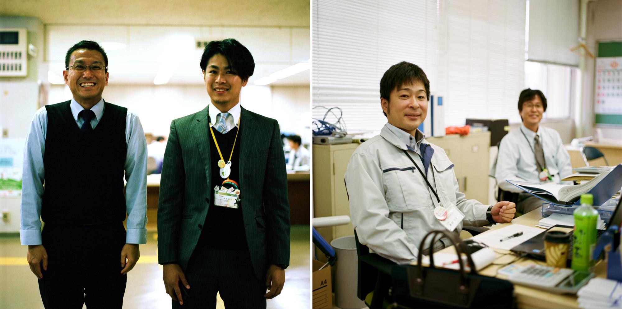 ︵左の写真︶の2人は楢葉町役場で働いており。右に写っているのは楢葉町出身のマツモトマサヒロさんです。自宅が津波で流されてしまいましたが、家を建て直すお金がありません。いずれにしても、家族は楢葉町へ戻ることを望んでいないのです。 ︵右の写真︶この2人の男性はコミュニティーセンター「ならはみらい」で働いています。同センターは楢葉町の委託を受けて、町に戻った住人たちが社会的なつながりを再び持てるように取り組んでいます。彼らは地域広報の発行や、社会活動として町の美化活動(花の栽培など)の企画を行っています。左のニッタさんは、楢葉町の北西100㎞に位置する都市、郡山に住んでいます。震災前は楢葉町に住んでいましたが、幼い子どもが2人いるので自宅に戻ることは考えていません。