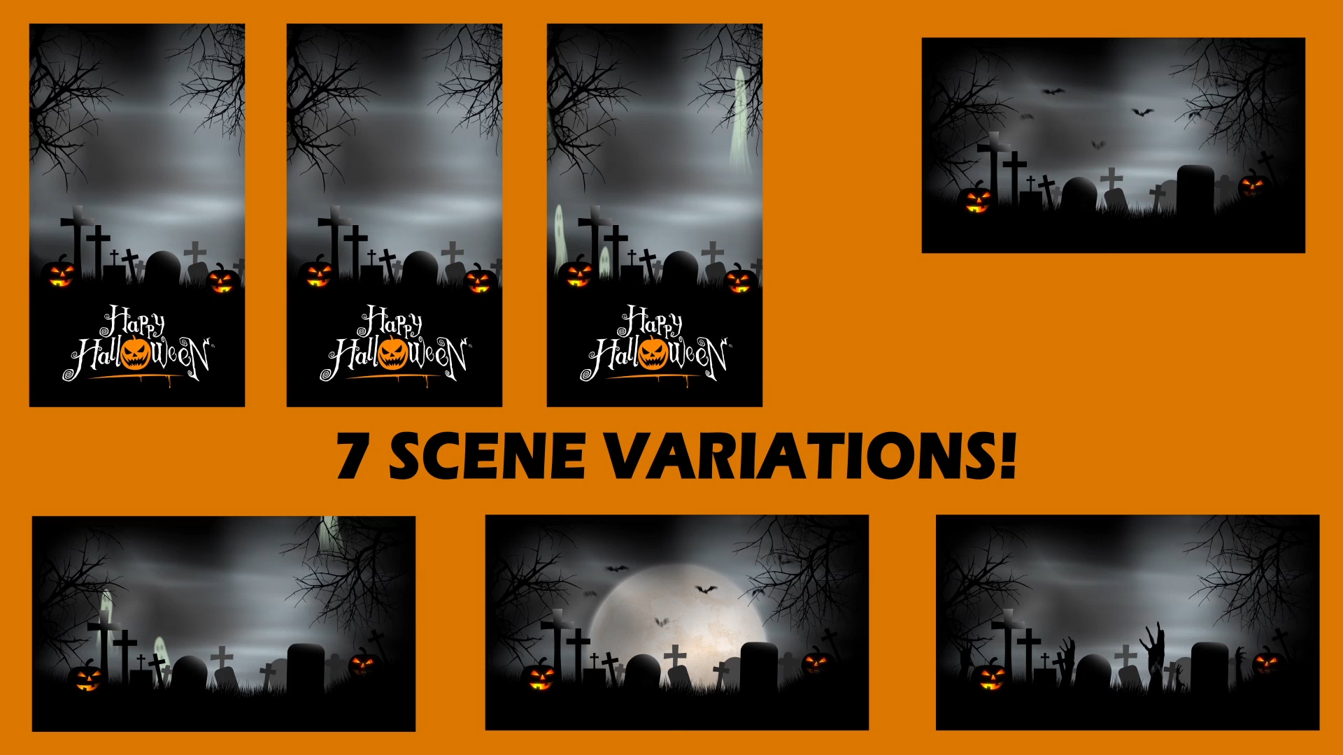 Halloween 2 After Effects Template   $45   MORE INFO   7 spooky scene variations are contained in this halloween graveyard background After Effects Template.  Scene 1 – Ghosts flow up from the graveyard in a seamless loop Scene 2 – A flock of bats descends over the full moon lit graveyard Scene 3 – Hands punch through the earth and reach out of the graveyard Scene 4 – A flock of bats descends over the graveyard (no mooon) Scene 5 – A vertical loop designed for vertical / digital signage purposes Scene 6 – Vertical scene with bats Scene 7 – Vertical scene with ghosts  Each item is layered and ready for editing, change out logos, colors, add text or re-time the animations to make it your own.   AFTER EFFECTS VERSION:  CS3, CS4, CS5, CS6, CC (Creative Cloud)  RESOLUTION:  1920 X 1080 HD  PLUGINS REQUIRED:  None  FILE SIZE:  1.8 GB  MUSIC INCLUDED:  No (link provided)  VIDEO TUTORIAL:  Included  Compatible with After Effects CC, CS3, CS4, CS5, CS6 & CC (Creative Cloud)