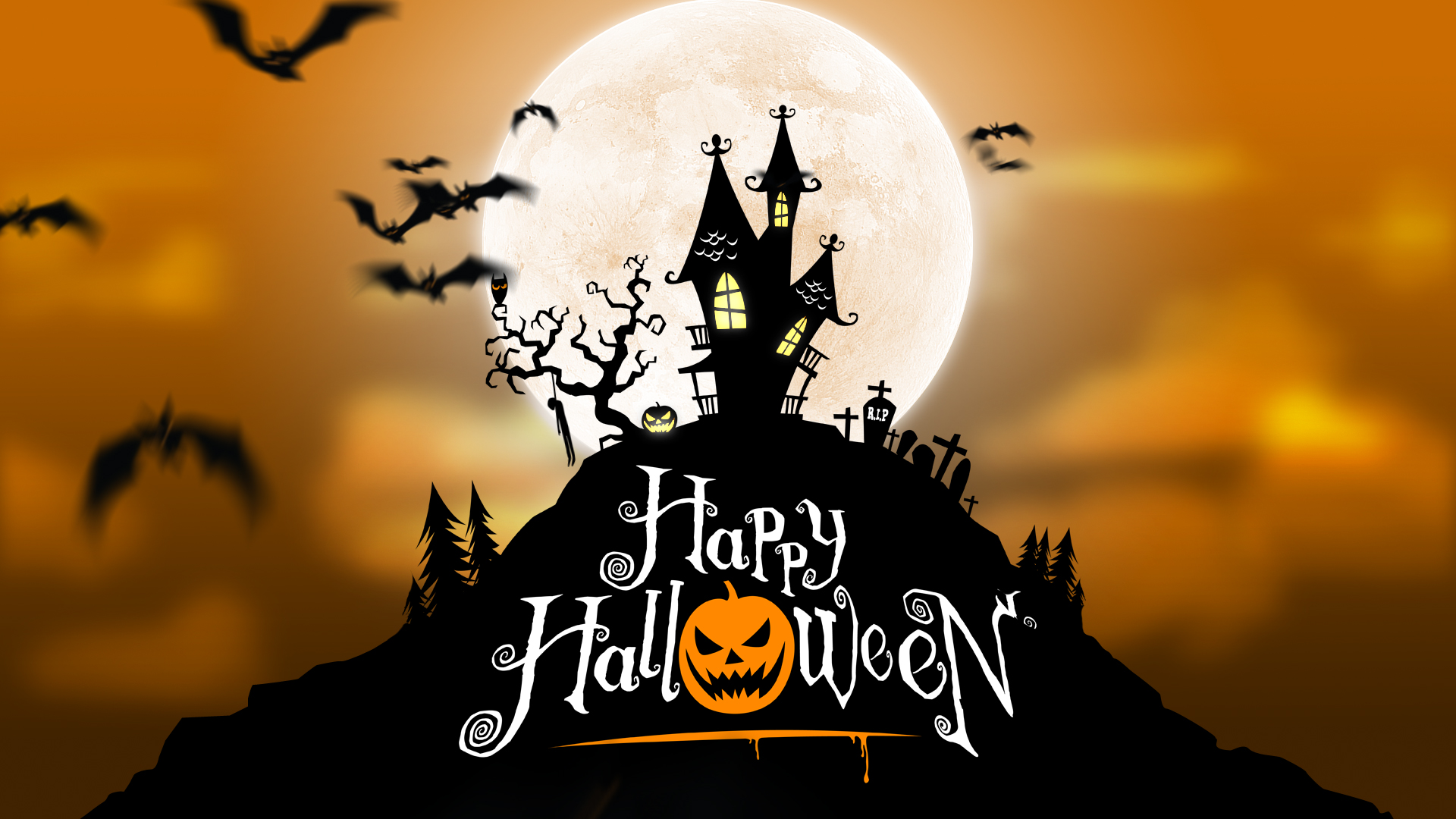 Halloween 1 After Effects Template   $45   MORE INFO   A spooky halloween background of a haunted house with a full moon in the background. A group of creepy bats flocks through the scene with animated timelapse clouds. The scene also features a bird with blinking eyes, flickering windows and pumpkins and a swinging hung corpse.