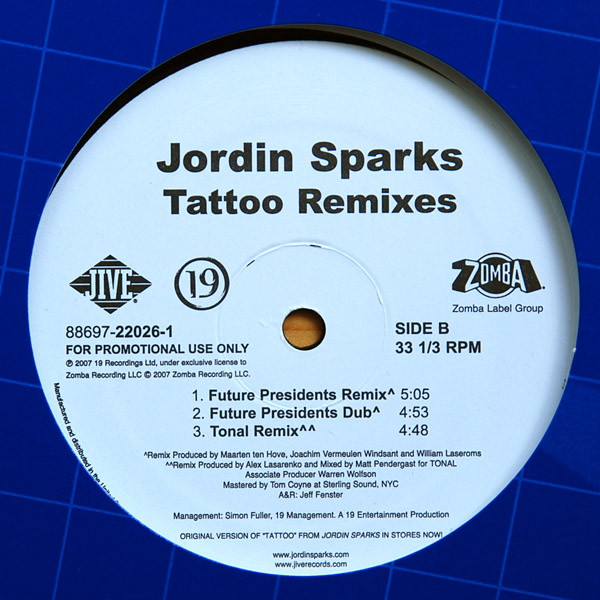 "Jordin Sparks   ""Tattoo (TONAL Remix)"" (2007)  • Remix Production, Mixing"