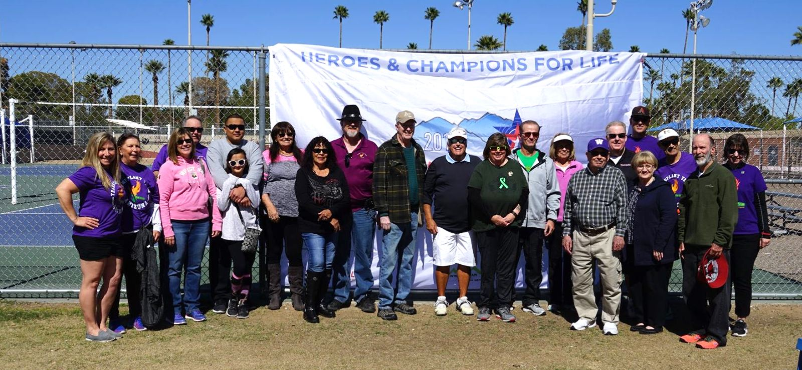 January 2018 - The team in front of the 2018 DonateLife Transplant Games of America official flag.