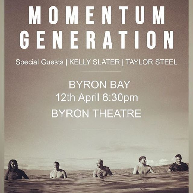 Friday 12 April 630pm presented by @byronsurfflicks at the @byroncommunitycentre theatre Tix at Box Office only and limited || Fundraiser for @greataustralianbightalliance & @surfrider foundation . . GUESTS: Kelly Slater & Taylor Steele . . Music from 5.30pm with @dustybootsmusic & friends . Supported by @thebyronatbyron @momentumgeneration || @kellyslater @taylorsteele