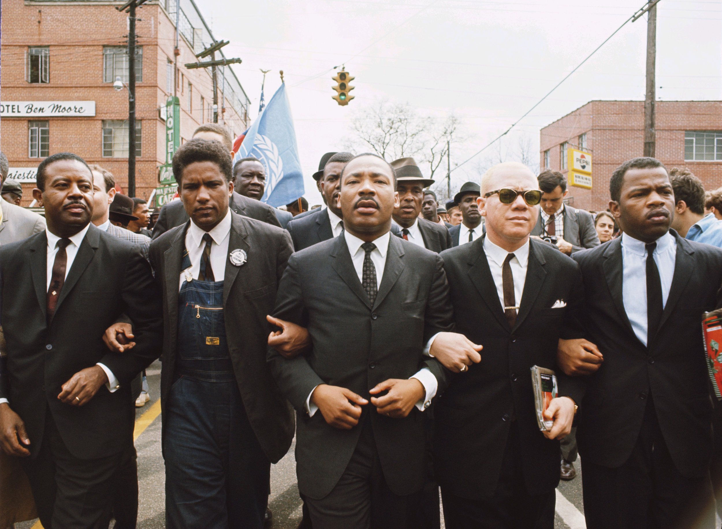 Martin Luther King leading march from Selma to Montgomery to protest lack of voting rights for African Americans. Beside King is John Lewis, Reverend Jesse Douglas, James Forman and Ralph Abernathy. March 1965.