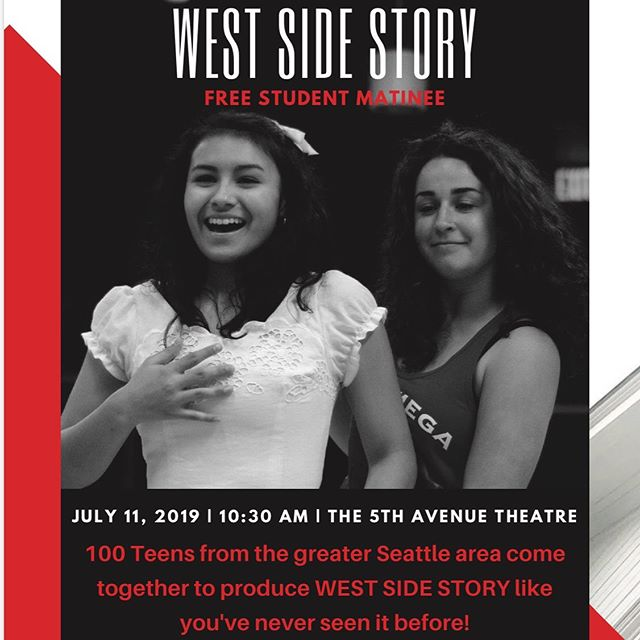KM Choir (and friends and families) past, present and future! You have been given a FREE TICKET TO THE 5th Ave's production of West Side Story this Thursday, July 11th at 10:30 AM. Fill out the link in the bio, or you can show up at the door and say you are with KM.  This production features KM's Serena Beauchamp onstage as a member of the Sharks, so this is a chance to support one of our own on the 5th stage!  Hope you can make it! — Looking for something fun to do this summer at NO COST? Looking to immerse yourself in the Seattle Theatre community? — Interested in seeing a breath-taking production of the classic American musical West Side Story? — Ready to be blown away by an incredible 25-piece orchestra and cast of 40 performers, made up entirely of some extremely talented students from all around Washington? — If you answered yes to any of these, on behalf of The 5th Avenue Theatre, we would like to invite you to a FREE performance of the Rising Star Project: West Side Story on July 11th at 10:30am! — This performance is absolutely FREE to attend for student groups and qualifying families and will be a fantastic chance to experience live, professional theatre. — Large groups are welcome! Please reserve your free tickets as soon as possible by clicking this link to fill out a request form. — West Side Story is an American version of Romeo and Juliet that focuses on a clash between second-generation Americans and newly-arrived Puerto Ricans in 1950s New York. With music by Leonard Bernstein, lyrics by Stephen Sondheim and choreography by Jerome Robbins, it is a production you will not want to miss!
