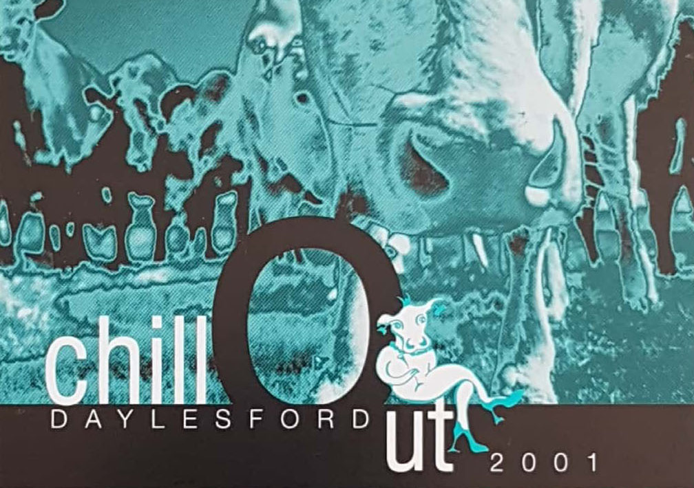 Timeline - A timeline of events showing posters, tickets and brochures of ChillOut.