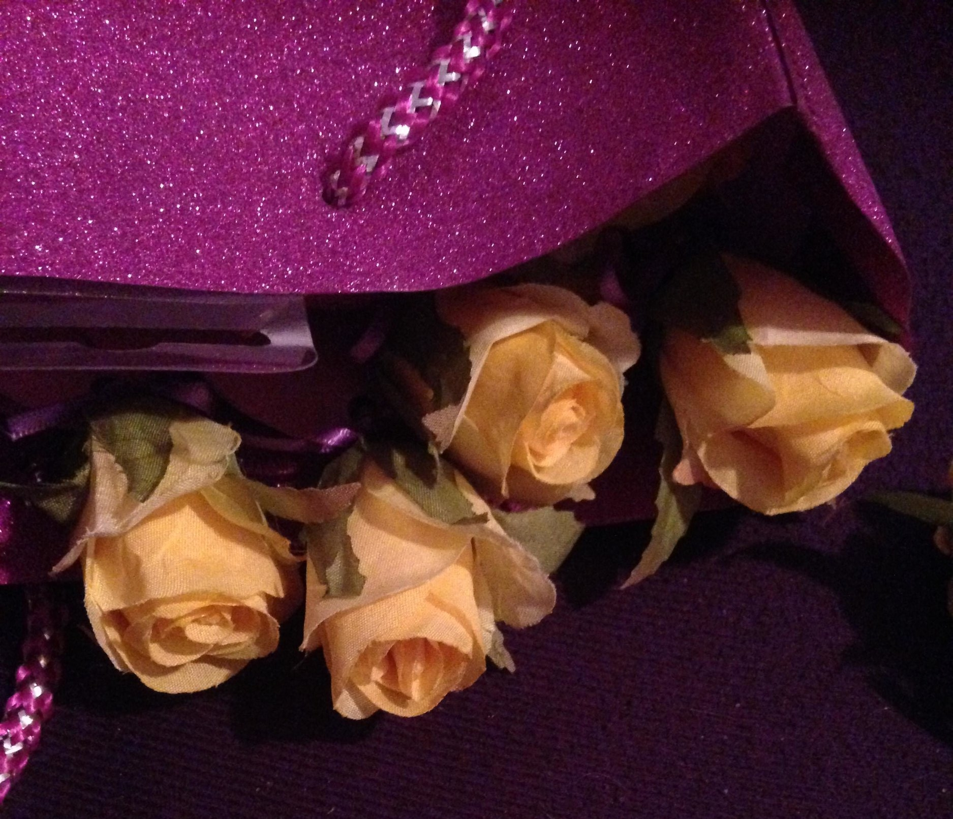 A sneak peek at my glittery bag of friendship love roses getting ready to go!! :D x