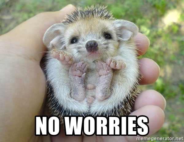 No worries? Yes, worry about me? Please?!