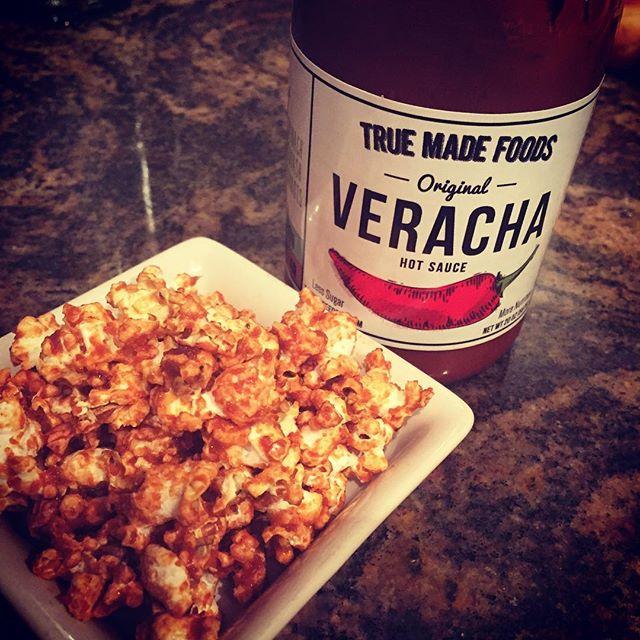 #veracha popcorn! #fridaynightsnack #foodporn #nrashow2016 #truemadefoods #popcorn