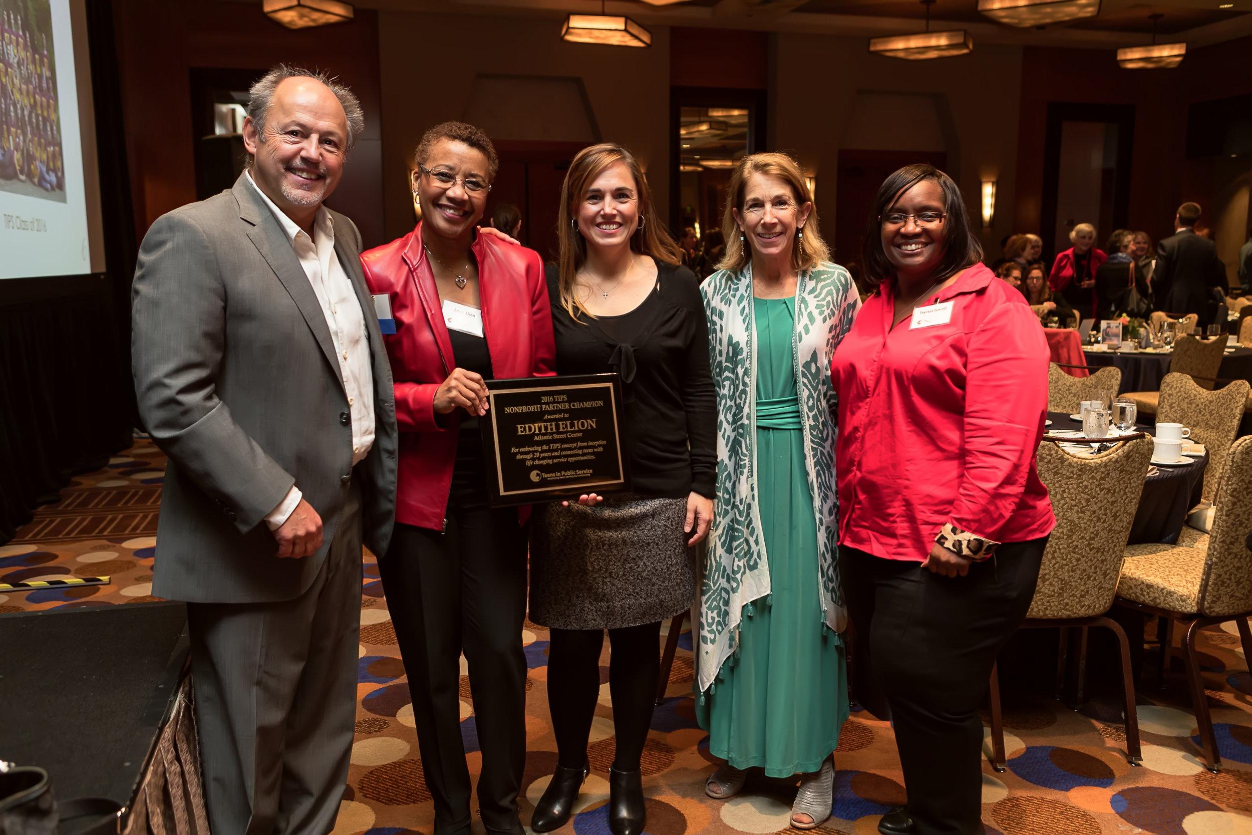 From left to right:Joe Brotherton (TIPS Board of Directors), Edith Elion (Atlantic Street Center), Tia Heim (TIPS Co-Founder), Maureen Brotherton (TIPS Co-Founder), and Theresa Everett (Atlantic Street Center)