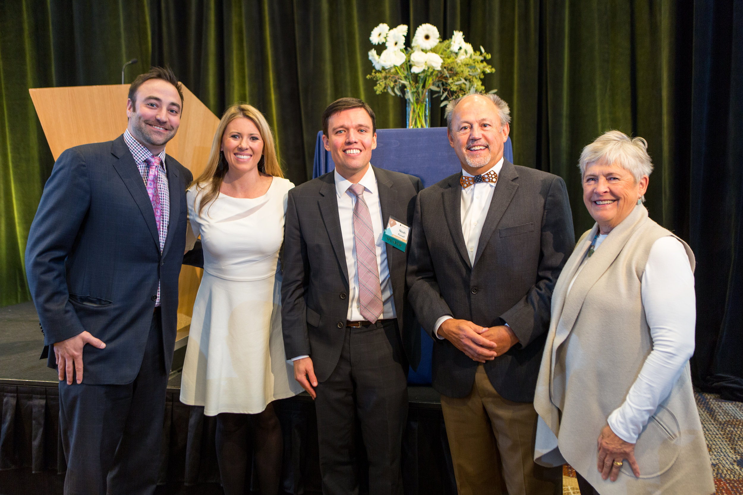 Luncheon guests with event MC Natasha Ryan (second from left), WA Solicitor General Noah Purcell (middle), and TIPS Board Chair Joe Brotherton (second from right)
