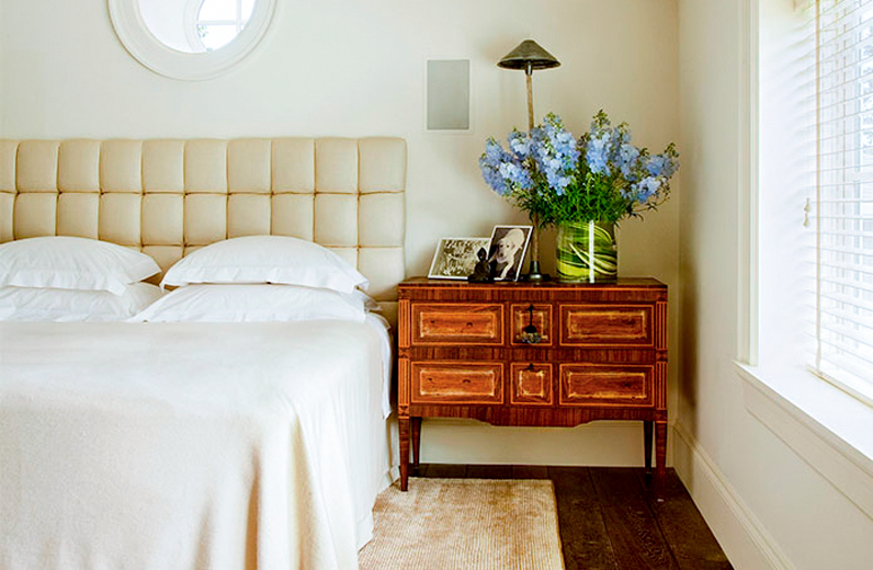 Upholstered headboard featured in  Portrait of Portland Magazine, May 2013