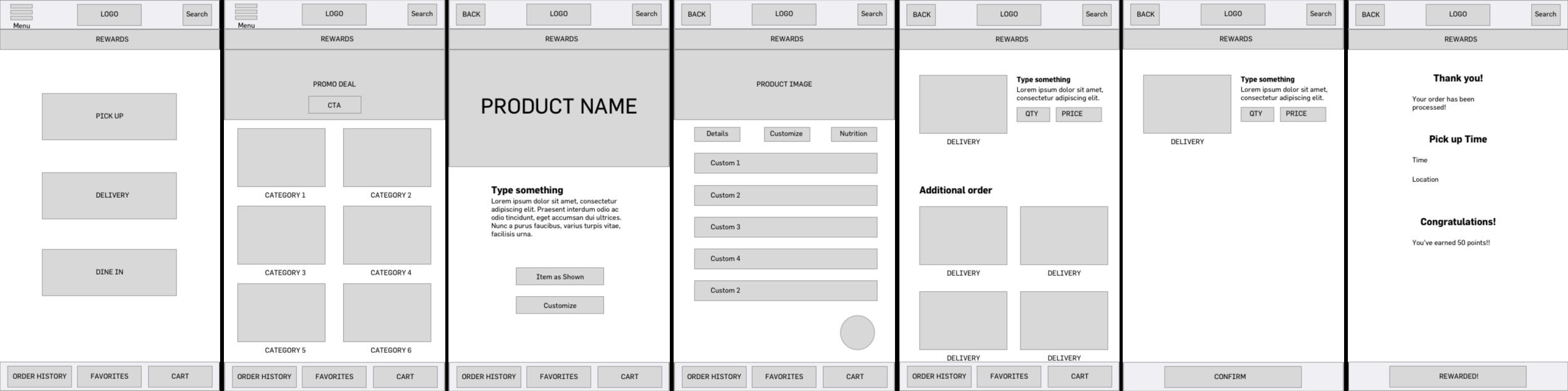 Mid-fi prototype of the Platter app