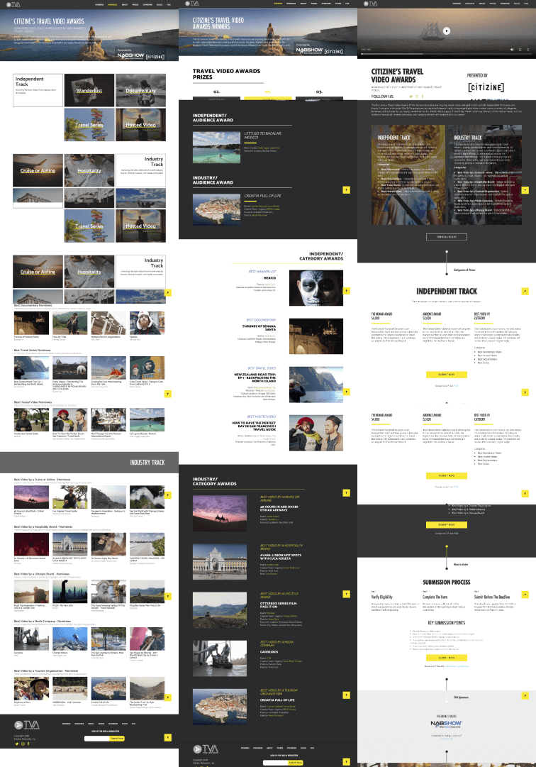 Three different pages on the TVA website all with different ways to navigate through each page