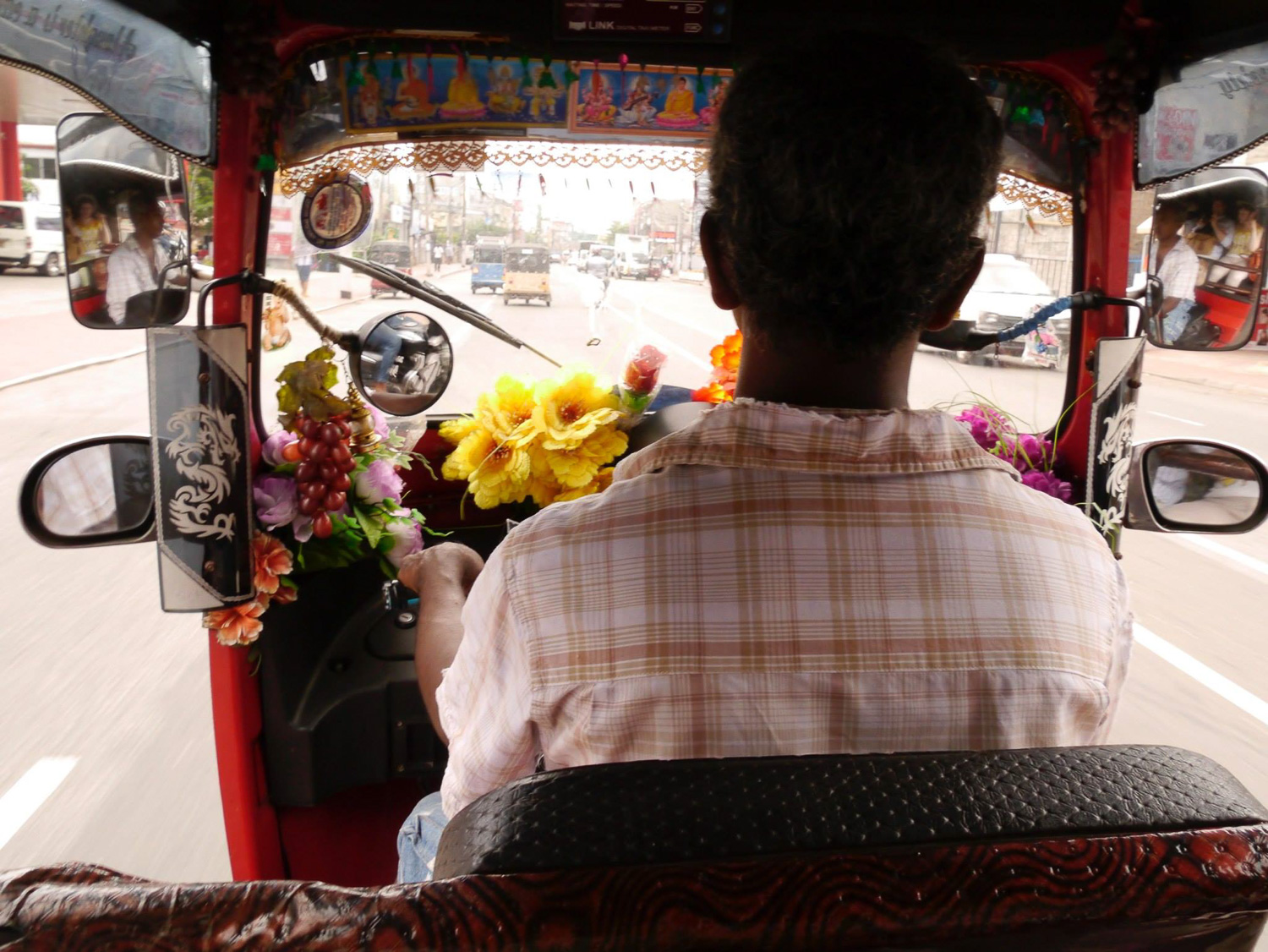 Inside a luxurious Tuk Tuk on Galle Road