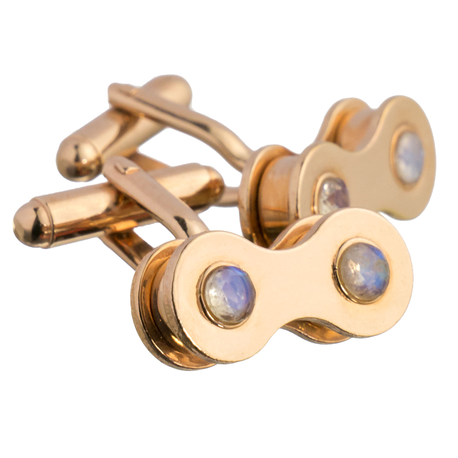 Rose gold cufflinks with moonstone