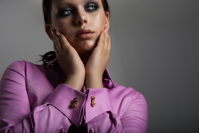 A Womens cufflink shirt with a more elaborate cuff design.