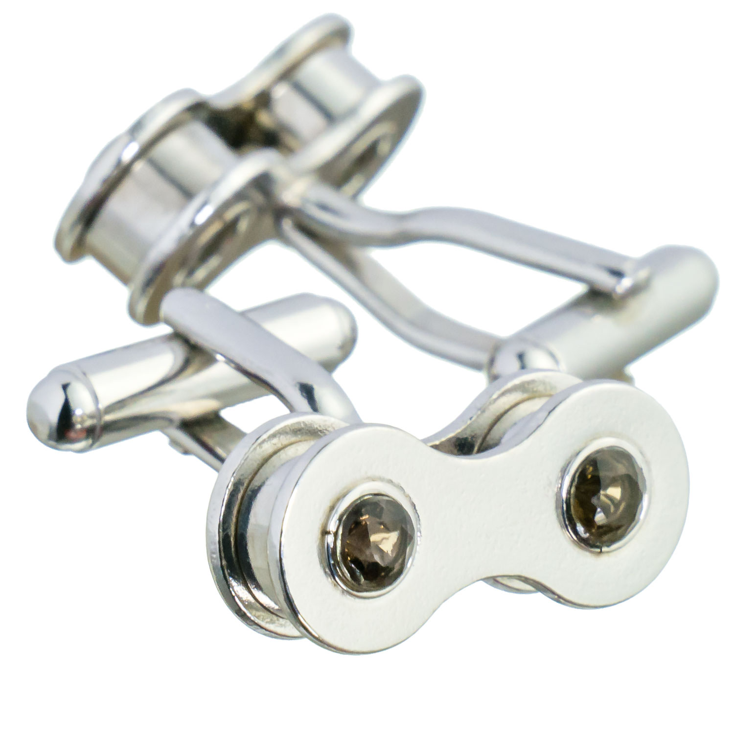 Silver cufflinks with smoky quartz. The contrast between the silver and quartz looks very modern.