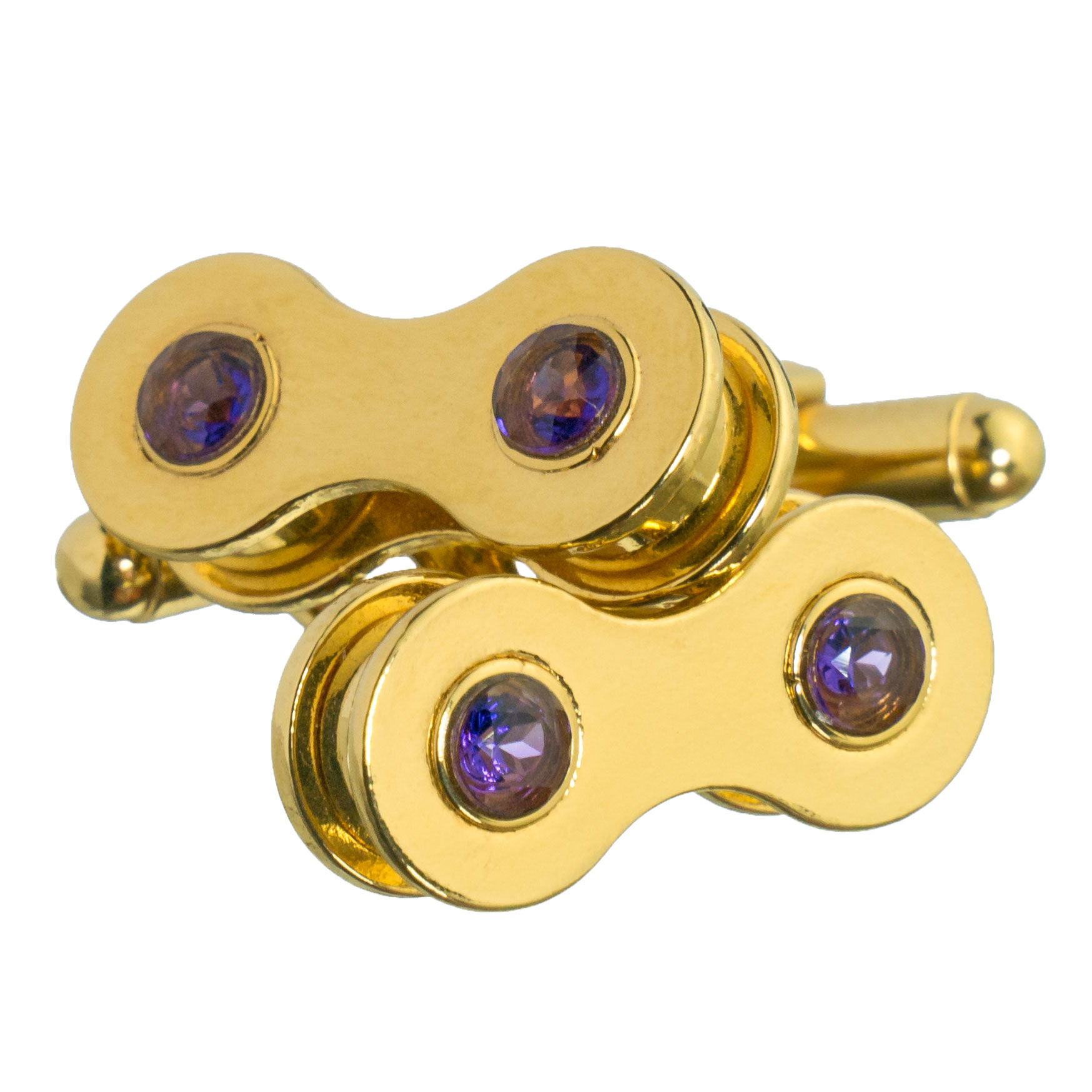 Gold cufflinks with amethyst. A strong contrast that emanates luxury.