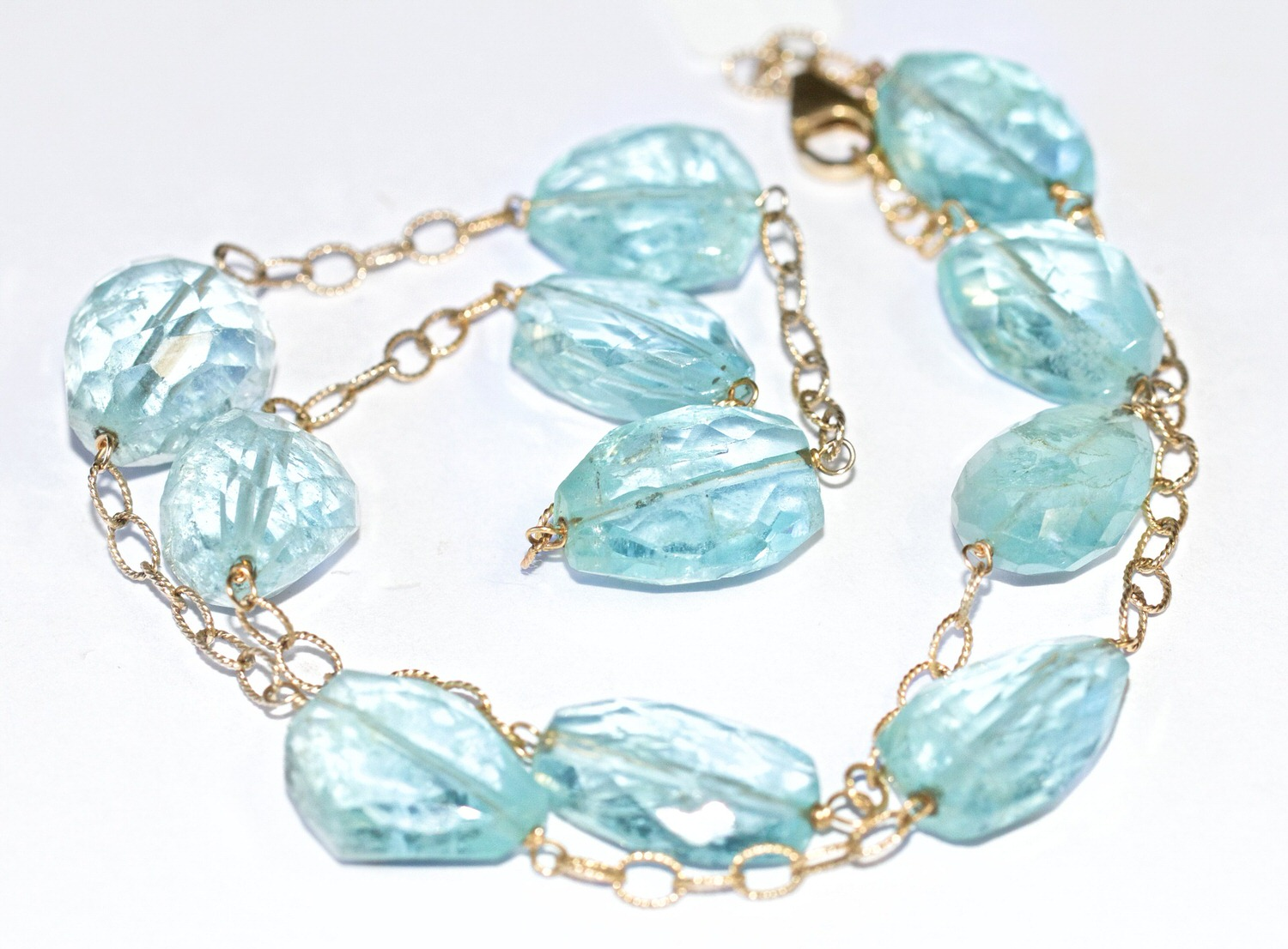 Exotically shaped aquamarines make for some very unique jewellery.