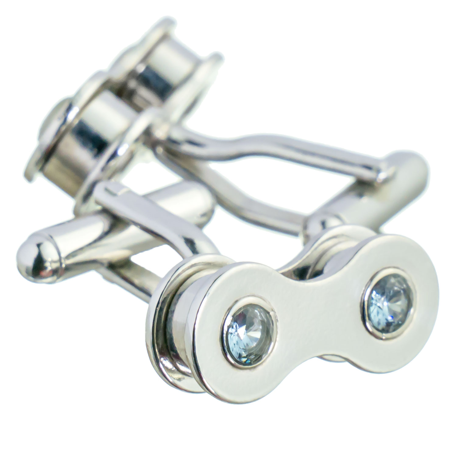 Silver bike chain cufflinks with aquamarine