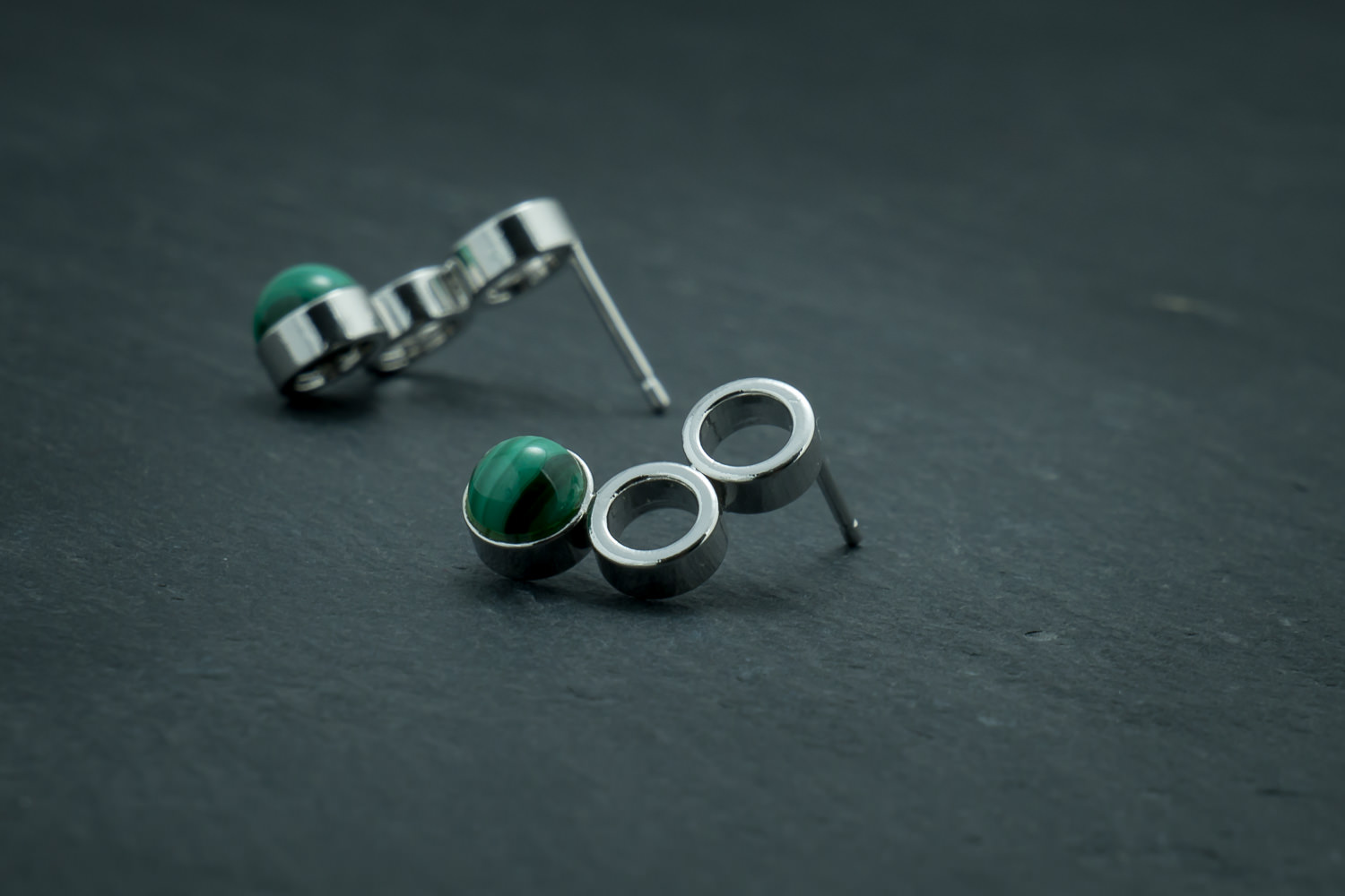 Silver stud earrings made from bike chain and malachite