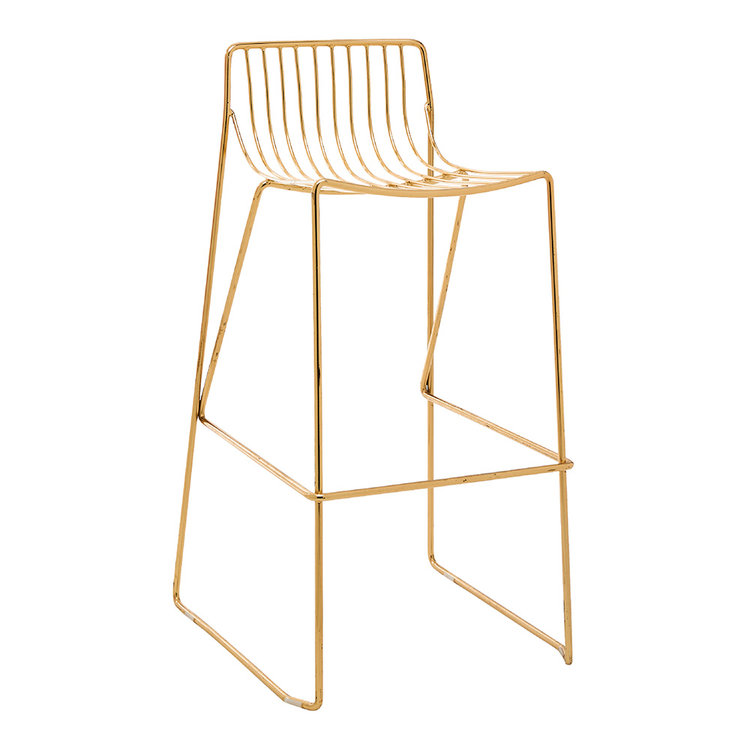 9 X WIRE STOOLS - GOLD