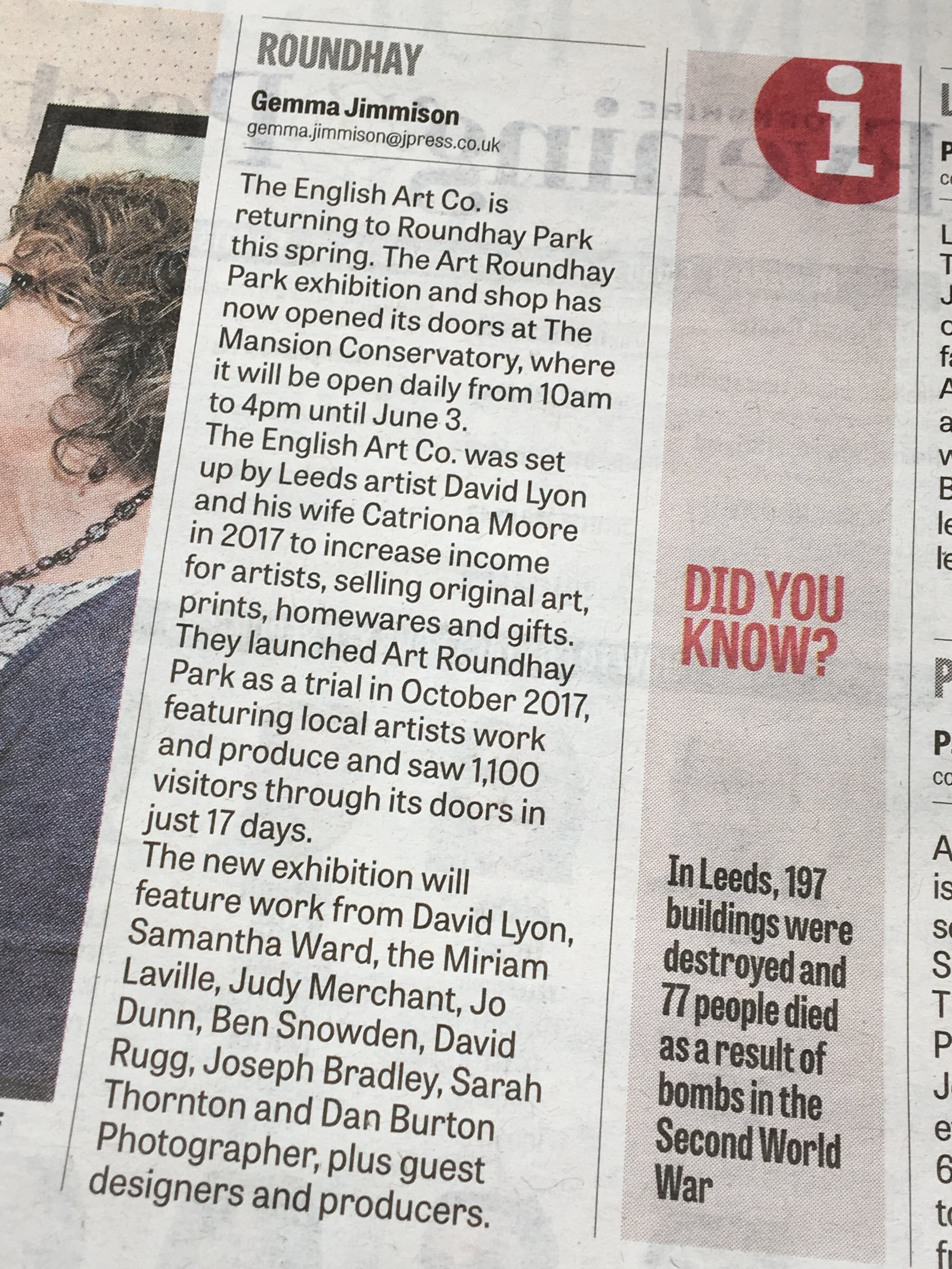 YORKSHIRE EVENING POST MAY 2018